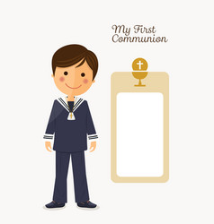 first communion child on white background with vector image