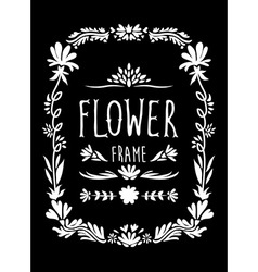 Flower frame hand drawn black and white vector