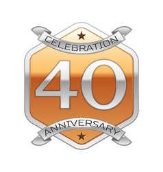 Forty years anniversary celebration silver logo vector