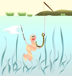 Frightened worm on a fishhook holding a white flag vector