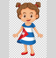 Girl in cuba flag on dress vector