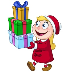 girl with gifts vector image vector image