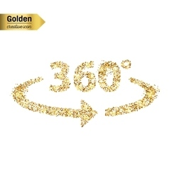 Gold glitter icon of 360 degrees isolated vector