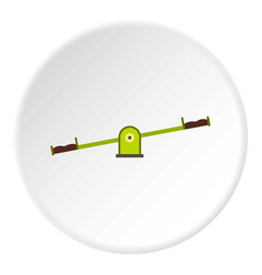 green seesaw icon circle vector image