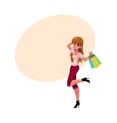 Happy caucasian girl woman with shopping bags vector