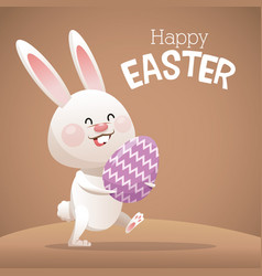 happy easter card cute bunny egg decorative vector image vector image
