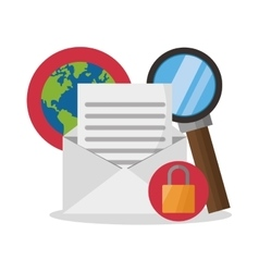 Isolated lupe planet padlock and sms design vector