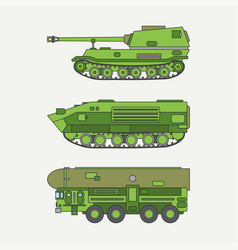 Line flat color icon set infantry assault vector