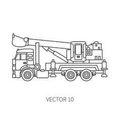 Line flat icon construction machinery truck vector