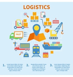 Logistic infographic icons flat vector