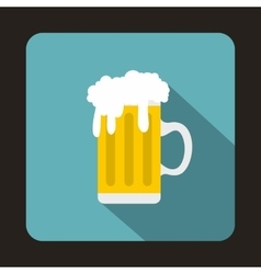Mug fresh beer with cap of foam icon flat style vector image vector image