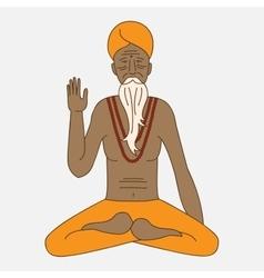 Outline yoga meditating sadhu logo asia hinduism vector