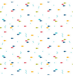 seamless pattern with colorful cartoon fishes vector image vector image