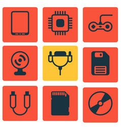 Set of 9 computer hardware icons includes cd-rom vector