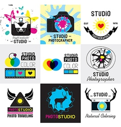 set of vintage photo studio logo labels badges vector image