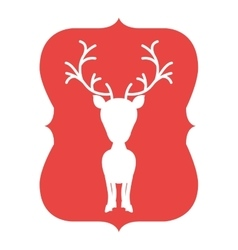 Silhouette frame red with reindeer vector