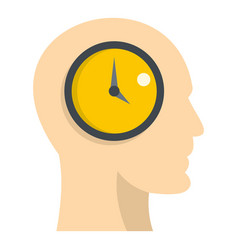 Silhouette of a human head with clock icon vector