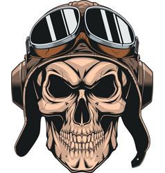 Skull in helmet pilot vector