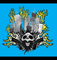 smiling skull with guns and city buildings in fire vector image