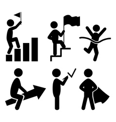 Success people flat icons pictogram isolated on vector