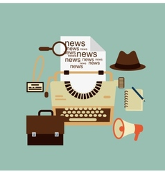 typewriter hat paper sheets magnifying glass vector image