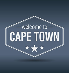 Welcome to cape town hexagonal white vintage label vector