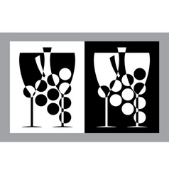 wine glasses and bottle sign vector image vector image