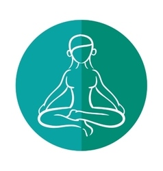 woman silhouette yoga lotus pose vector image