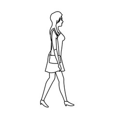 Woman walking with dress and purse bag outline vector