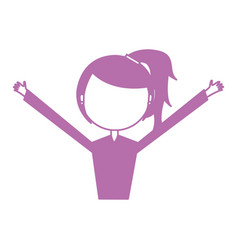 Young woman with hands up avatar character vector