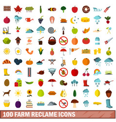 100 farm reclame icons set flat style vector image vector image