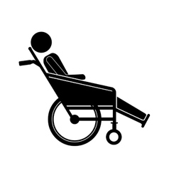 Person sitting in reclining wheelchair flat icon vector
