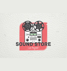 Color sticker studio recording and music shop vector