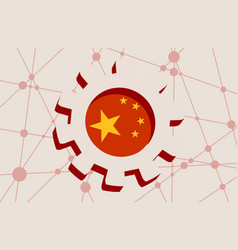3d cog wheel with china flag vector