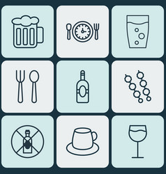 Set of 9 food icons includes hooch soda drink vector