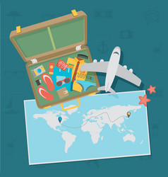 Travel background flat vector