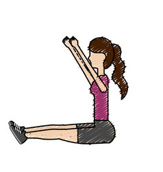 Healthy woman doing exercise vector