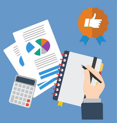 business hand writing with sheets and calculator vector image