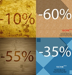 60 55 35 icon set of percent discount on abstract vector
