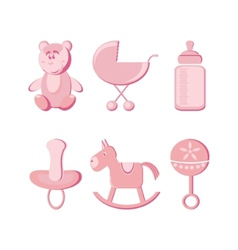 illustration  baby icons set vector