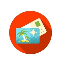 Card with palm flat icon long shadow vector