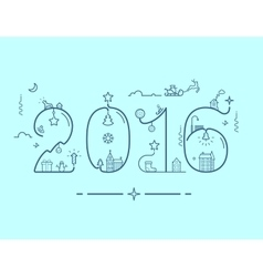Inscription of new year 2016 with decoration vector