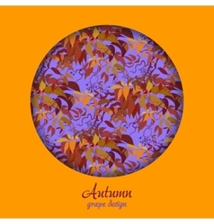 Autumn wild grape with orange red leaves vector