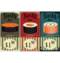 Vintage sushi labels vector