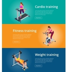Banner set fitness woman working out on exercise vector