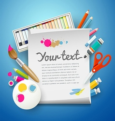 School Supplies Art and empty white paper vector image