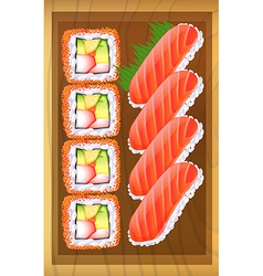 A topview of the different variants of sushi at vector image vector image