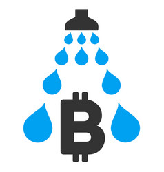 Bitcoin laundering shower flat icon vector