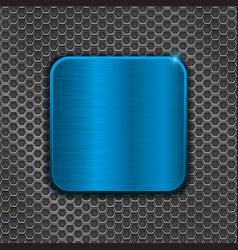blue metal plate on iron perforated background vector image vector image
