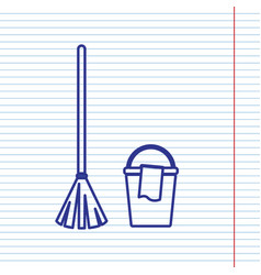 Broom and bucket sign navy line icon on vector